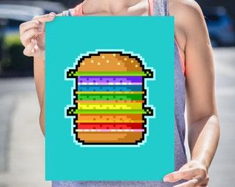 Burger Art Print, High Quality Art Poster, Home Decor, Wall Art, Poster Design, Illustration - Pixel Hamburger