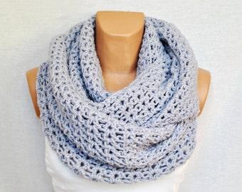 Crochet infinity scarf - Gray/Lavander infinity scarf