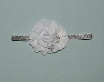 White Flower Baptism Headband Christening BlessingBaby Toddler Headband Flower Girl Spring Summer partiotic 4th of July