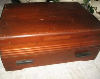 Wooden Silverware Empty Chest/Flatware Storage Wooden Box 1940's Wood Silverware Box