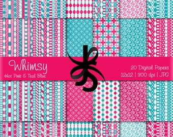 Digital Scrapbook Papers-Hot Pink-Teal Blue-Whimsical Patterns-Whimsy-Patchwork-Preppy-Backgrounds-Cards-Crafts-Instant Download Clip Art