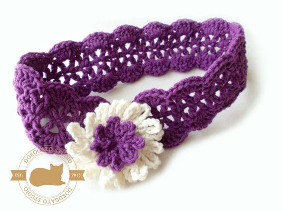 Crochet Headband Pattern, Baby Crochet Headband Pattern, Cornflower ...