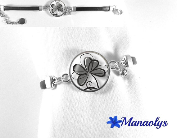 Black leather bracelet, black flowers on white background, 246 glass cabochons