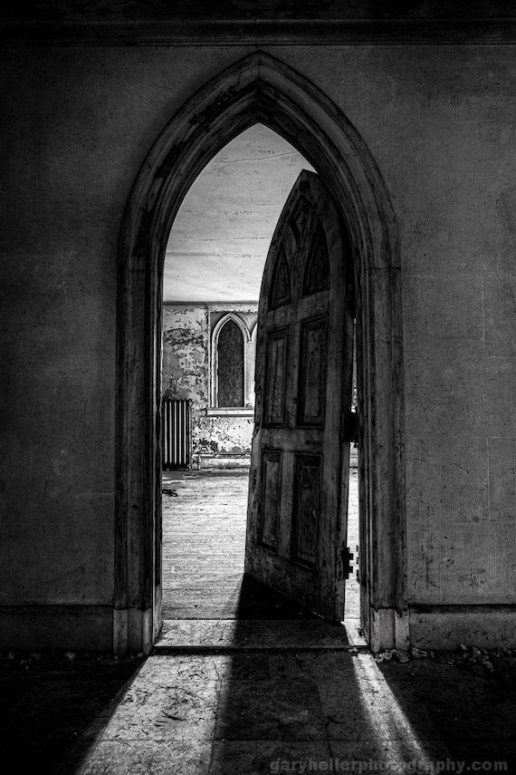 & Unhinged Old Gothic Door of Abandoned Castle Bu0026W Print