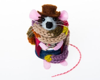 Tom Baker Mouse - Doctor Who collectable art rat mice felt mouse cute soft sculpture toy stuffed plush doll gift for dr who fan husband dad