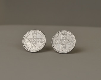 Portugal  Coin Jewelry Post Earrings 1971