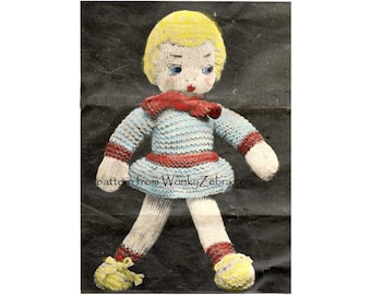Vintage Knitted Katie Doll and Humpty Dumpty Knitting Pattern PDF 553 from ToyPatternLand and WonkyZebra