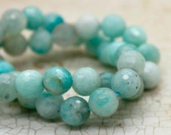 Amazonite Faceted Round Gemstone Beads