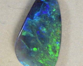 Fiery Greens Beautiful Solid Lightning Ridge Black Opal (14347)