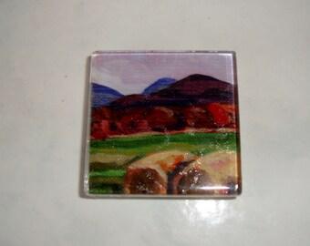 Landscape Art Magnet, Glass Square Large 2 Inch Original Art Print