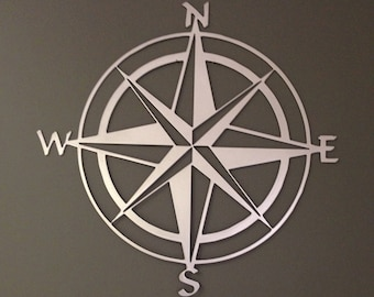 Nautical Compass Rose Metal Wall Art 36""