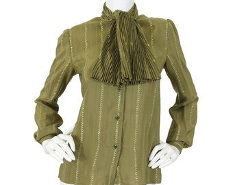 SALE Salvatore Ferragamo Early 1980's Vintage Olive Silk Metallic Threading Accordian Pleat Ascot Tie Blouse Sz M