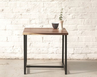 The Watson End Table - Walnut with Black Powder Coated Steel - Walnut, Ash, Maple Solid Wood.. Side Table