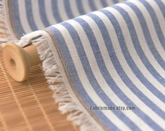 Yarn Dye Stripes Fabric/ White Blue Strips Linen Blended Fabric - 1/2 yard