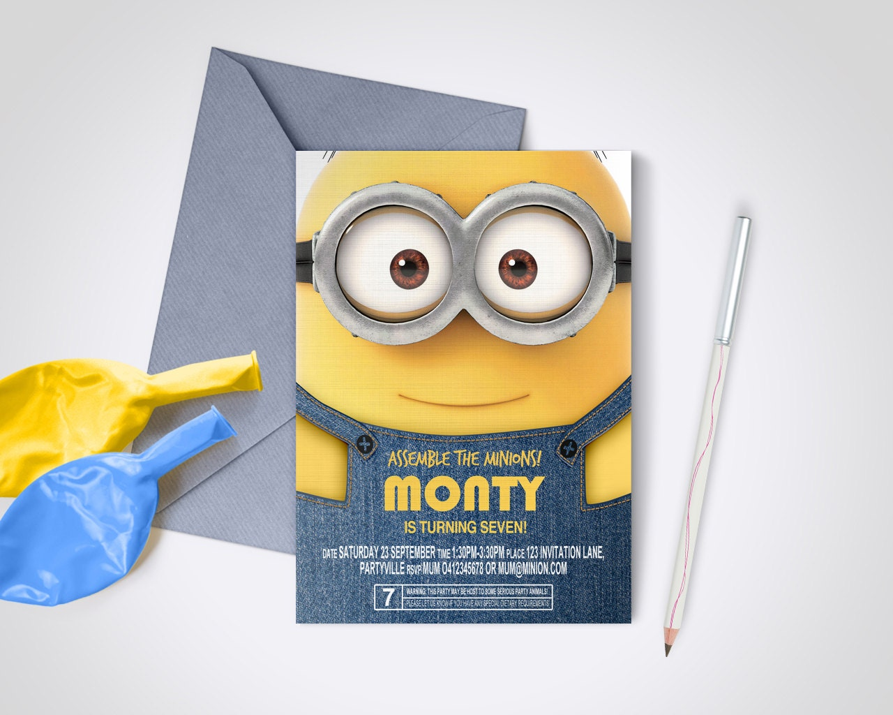 Minion Party Invite Edit and Print as many copies as you