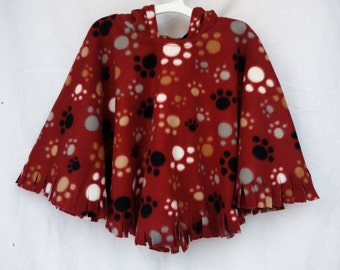 Car Seat Poncho | Toddler | Fleece | Ready Made | Car Seat Coat | Red Paw Print | Hooded Poncho | Boy Poncho | Baby Poncho | Child Poncho