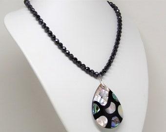 Necklace hematite wth abalone shell pendant