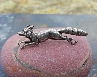 Fox Lapel Pin Brooch Art Nouveau Silver-plated Brass, Natural Design, Brooch Mister Fox for Children, Boho Brooch