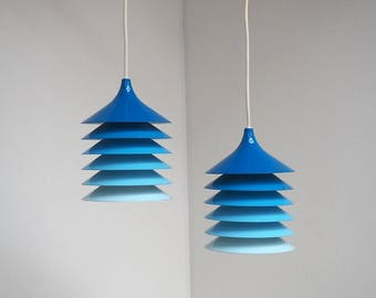 Pair of blue Duett pendants by Bent Boysen, vintage IKEA lamps from the 1970s
