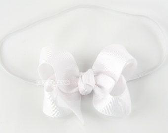 "Baby Headband, white headband, toddler headband, 3"" 3 inch bow headband, newborn headband, infant headband, skinny elastic girls headband"