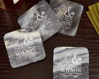 Matisse Personalized Marble Coasters Set of 4 - Handsome Engraved Marble - Beautiful Wedding Gifts, Housewarming, Engagement, Anniversary