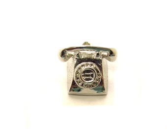 Vintage Sterling Silver Rotary Telephone Traditional Charm