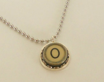 Typewriter Key Necklace, Letter O, Vintage, Initial Jewelry,  All Letters Available, Typography Jewelry,