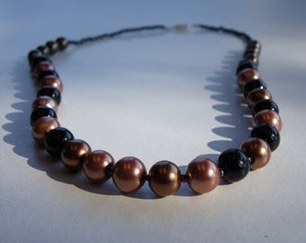 Necklace in handmade brown chocolate glass beads