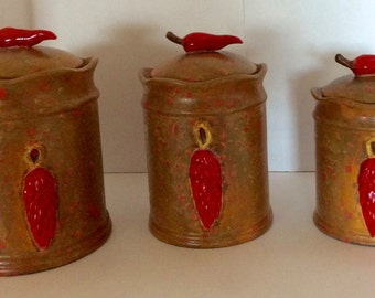 Southwestern Kitchen Canister set, Red chile ristra canister set, Ceramic canisters, Glazed canisters, Custom made canister set, southwest