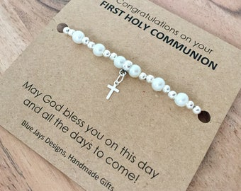First Communion Gift, First Holy Communion Gifts, Communion Bracelet, Gift Under 10, Communion Dress, Pearl Bracelet, Spiritual Jewellery