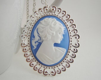 Lady with Ponytail Cameo Pendant with Free Necklace