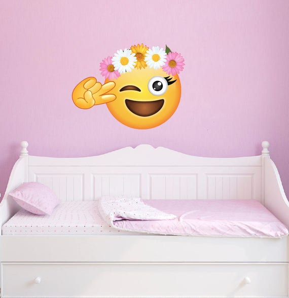 Large peace flower crown emoji wall decal emojis peel and mightylinksfo Images