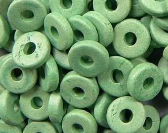 Greek Ceramic 8mm Disk Beads Pea Green 2.6mm Hole 16017 Disc Beads, Narrow Beads, Spacer Beads, Large Hole Bead, Big Hole Bead, Ceramic Bead