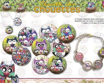 Owls o30 and 25. 42 digital images. Digital collage sheet for cabochon. 16031