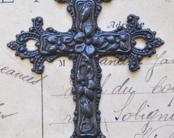 Ornate Brass Crucifix Pendant, Black Satin Finish, Black Crosses, Brass Stampings Made in the USA, Gothic Supplies
