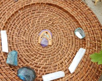 amethyst sheild clay pendant