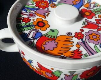 "Royal Crown Porcelain ""Paradise"" Medium Covered Casserole, Made in Japan, Vintage, Bird, Ovenware, 1960s"