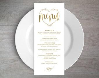 Gold Wedding Menu Template, Rustic Wedding Menu, Menu Printable, Menu Cards, Rustic Wedding, Wedding Dinner Menu, PDF Template, WPC_353