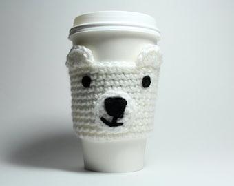 Polar Bear Coffee Cozy Crochet Animal Drink Sleeve Can Holder Drink Cup Holder Java Jacket