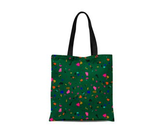 Tote Bag with Neon Granite Design - Canvas Bag - Green Personalised - Speckled