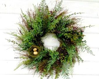Spring Wreath-Spring Home Decor-FERN Wreath-Summer Wreath-Housewarming Gift-Year Round Wreath-Farmhouse Decor-Outdoor Wreath-Scented Wreath