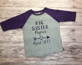 Big Sister Again shirt, promoted to big sister shirt, pregnancy announcement shirt, soon to be big sister shirt, new baby announcement