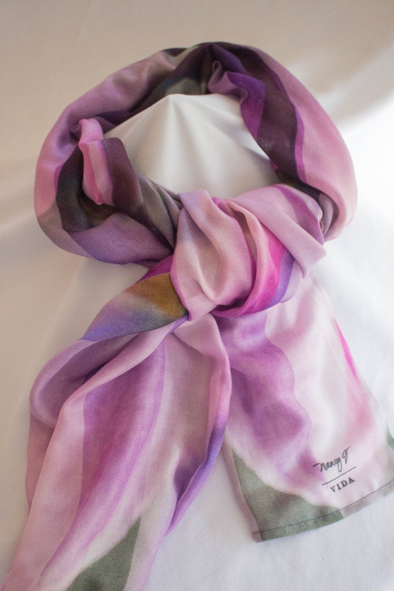 Cashmere Silk Scarf - Pink LightBlue Scarf by VIDA VIDA