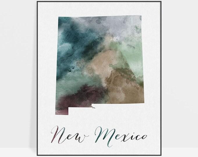 New Mexico state map, Watercolor map, Wall art, New Mexico map poster, New Mexico state watercolor, fine art watercolor print ArtPrintsVicky