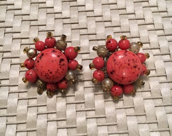 1950s orange red cluster clip on earrings