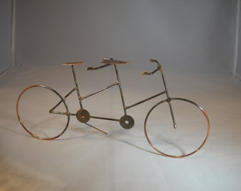 Table Top Tandem Bicycle/Copper Wire Art/Home Decor/Bicycle/Hand Sculpted Wire Art Bicycle/Table Top Decor/Accessories/Gift/Handmade in USA