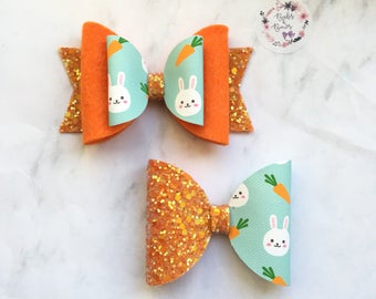 Easter Bunny With Carrots Bow Hair Accessory (headband or clip)