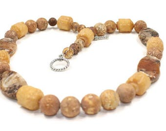 Brown Necklace Gemstone Jewelry Handmade Necklace Carmel Brown Necklace Rich Brown Necklace Rustic Necklace Tan Beaded Necklace Gift