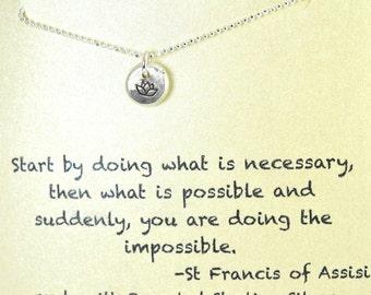St francis necklace etsy lotus flower motivational friendship encouragement st francis peace gift for aloadofball Choice Image