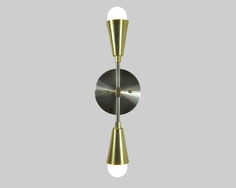 ROYAL - Double Wall Light - Modern Mid-Century Vanity Light - Wall Light, Satin and Brass Wall Light - UL LIsted